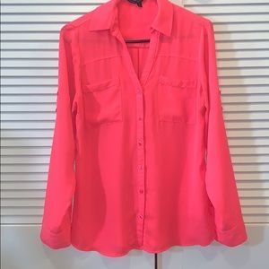 Express Portofino Button Down Hot Pink